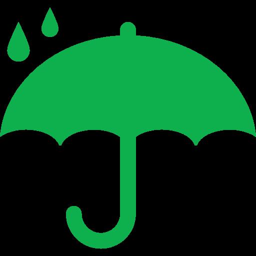 protection-symbol-of-opened-umbrella-silhouette-under-raindrops